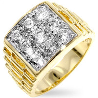 Crystal Carpet - Men's 14K Gold Ring Layered With Cubic Zirconia