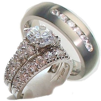 His & Hers 3 Piece Engagement Wedding Ring Set 925 Sterling Silver & Titanium