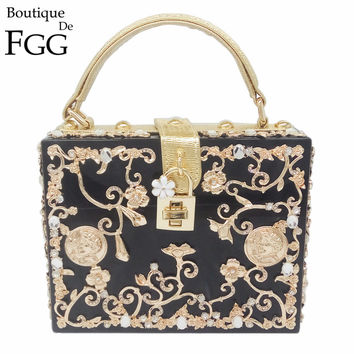 Floral Crystal Women Evening Totes Bag Silver Acrylic Clutches Shoulder Handbags Crossbody Bags Hardcase Ladies Box Clutch Bag
