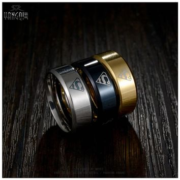 Movie Jewelry Men Black  Gold Superman Rings Stainless Steel the Lord One Bague Titanium 6MM Men Anillos