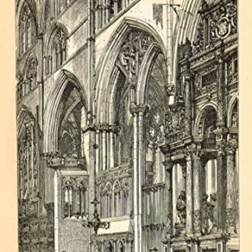 Our National Cathedrals - OLD ST. PAUL'S - CHOIR - Wood Engraving - 1887