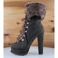 "Luichiny Stand By Army Green 5"" Block High Heel Platform Furry Ankle Boot"