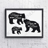 Baby Mama Papa Bear Quote Vector Download - Digital Print File, Vinyl Design, Home Decor, Printable Quotes, jpg png svg pdf, Svg Silhouette