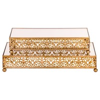 2-Piece Rectangular Mirror-Top Decorative Tray Dessert Stand Set (Gold)