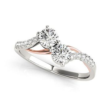 Round Two Stone Diamond Ring with Curved Band in 14K White And Rose Gold (5/8 ct. tw.)