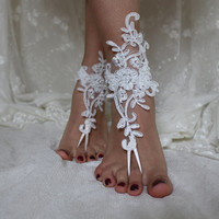 İvory Lace Barefoot Sandals,Beach Wedding Lace Shoes,Bridal Lace Barefoot Sandals,Summer Wedding