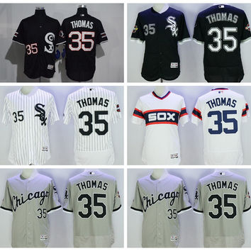 Chicago White Sox Baseball 35 Frank Thomas Jersey Flexbase Pullover Pinstripe White Grey Black With 75th 2005 World Series Patch