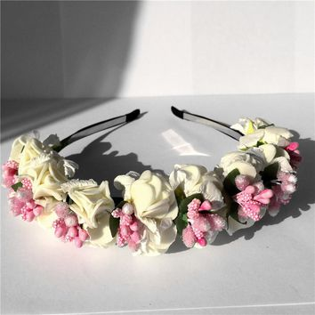 Flower Hairband Bridal Wedding Girl Hair Accessories Wreath for Kids Head Tiara Garland hh5006