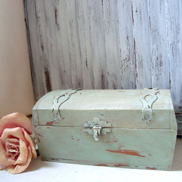 Vintage Mint Green Wooden Storage Box, Cottage Chic Antique Green Distressed Box, Jewelry Box, Gift Ideas, Shabby Chic, Made in the USA