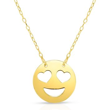 14k Yellow Gold Heart Shaped Eyes Emoji Necklace, 16""