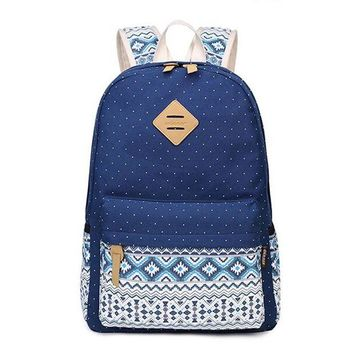 DCCKU62 Korean Canvas Printing Backpack Women School Bags for Teenage Girls Cute Bookbags Vintage Laptop Backpacks Female