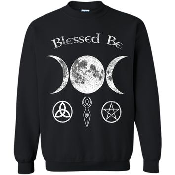 Blessed Be Triple Moon Wiccan Shirt Pentagram Clothing
