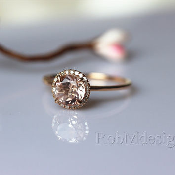 Round 7mm Morganite Engagement Ring Halo Diamond Ring 14k Gold Wedding Ring Promise Ring Pink Gemstone Ring