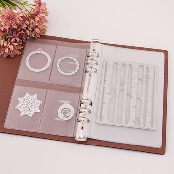 Scrapbooking Cutting Dies Organizer Stamps Collection Album Storage Book PU Leather Cover Plastic Inner Pages and Pockets