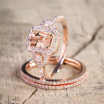 Newest Antique Vintage Design 925 Sterling Silver Milgrain 2 Carat Round Morganite and Diamond Halo Bridal Wedding Ring Set In 1