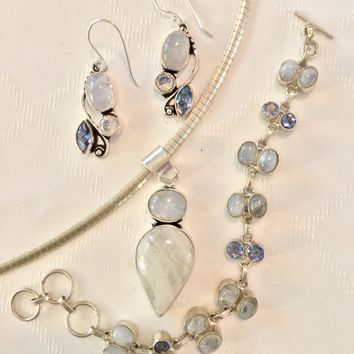 Rainbow Moonstone and blue Topaz sterling silver pendant and earrings set