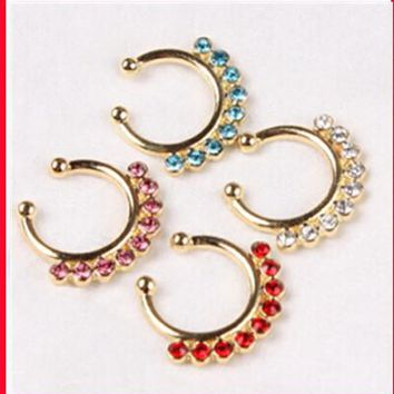 Mouse over image to zoom Details Clip On Fake Septum Clicker Piercing Nose Ring Hoop Indian White jewelry 16pcs mix 4 color