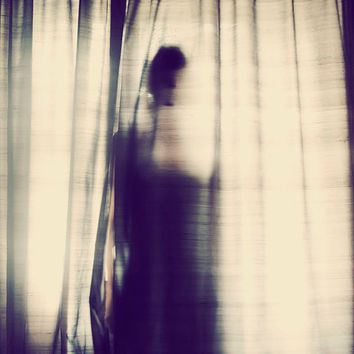 Surreal Portrait, Woman's Sihouette, Window Light Photograph, Female Figure, Dark Art, Bedroom Decor, Romantic Photo