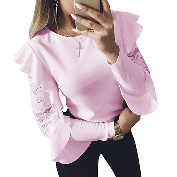 2018 Spring Woman Blouse Long Sleeve Shirt Tops Tee Shirts Ruffle Lace Splice Office Ladies Blusas WS5317U