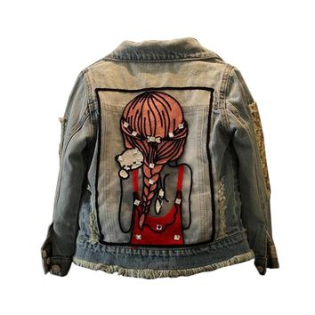 2018 Spring New Girls Denim Jackets Cartoon Pattern Kids Coats for Girls 2 3 4 5 6 7 8 9 10 11 12 Years Children Teens Outerwear