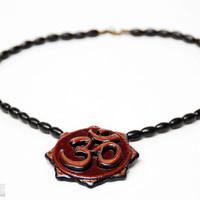 Om Pendant Necklace - Aum Symbol Buddhist Jewelry - Mantra Necklace - Hand Carved Wood Pendant - Spiritual Gifts