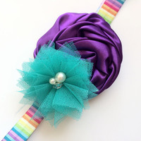 Rainbow Headband - Purple and Turquoise Flower Headband Photo Prop - Large Purple Flower Head Band for Girls - Bright and Colorful Headband