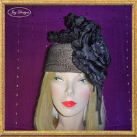 Handmade Black Metallic Waffle Knit Fabric Headwrap with Four Hand Beaded Silk and Velvet Flowers