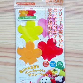 "Silicone ""Grass"" Baran Dividers for Bento Lunch Box - Flowers"