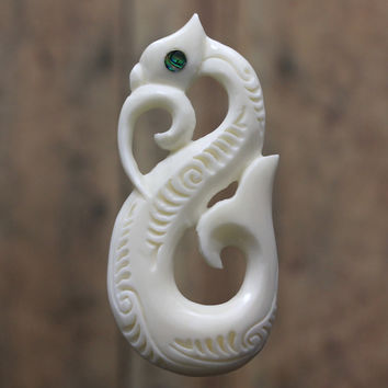 Hawaiian Bone Carving, Manaia Fish Hook & Whale, Dolphin Tale with Mother of Pearl Inlay