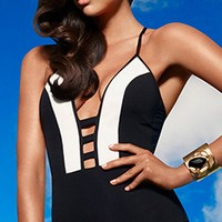 Jets 2014 Classique Plunge Tab Front One Piece Swimsuit J1771-BLK/WHT