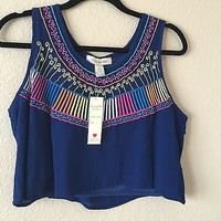 Blue Flowy Crop Top With Colored Embroidery By Fun & Flirt By Japna Size L