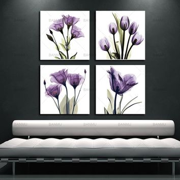 BANMU 4 Panel Canvas Print Wall Art Painting For Living Room Elegant Tulip Purple Flower  Decor And Modern Home Decorations