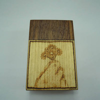 Wooden cigarette box (american walnut and spruce wood) with burned in little flowers