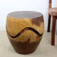 Hand-carved 18 x 18 Walnut Oiled 'Monkey Pod' Wood Barrel Puzzle End Table (Thailand) | Overstock.com Shopping - The Best Deals on Coffee, Sofa & End Tables