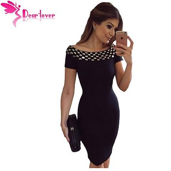 Dear Lover Office Dresses New Stylish Sexy Party Little Black Vestidos Studded Off Shoulder Short Sleeve Bodycon Dress LC61188
