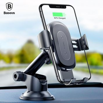 Qi Wireless Charger Car Holder For iPhone X 8 Samsung S9 S8 Suction Cup Wireless Charging Car Phone Holder (No Air Vent)