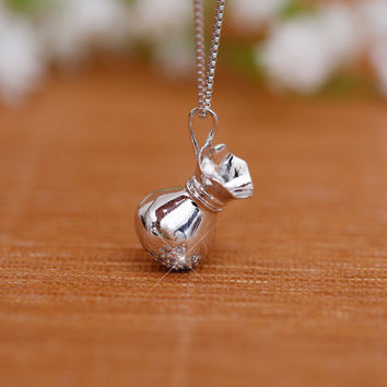 Gift Shiny New Arrival Stylish Jewelry 925 Silver Vintage Diamonds Bags Pendant Necklace [8026161927]