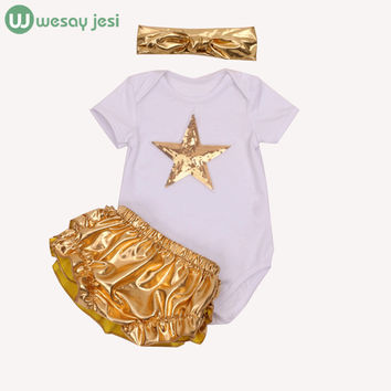 Baby girl clothes Kids short sleeve Golden tutu romper dress+ Tshirt+headband newborn baby summer set outfit infant girl clothes