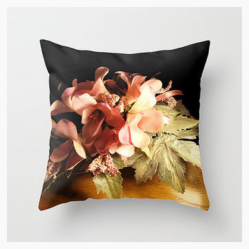 Paris Bouquet, Throw Pillow Cover, Home Décor, Decorative, Romantic, Nature, Love, Pink, Black, Floral, Flowers, Gifts For Her, Etsy ArtBJC