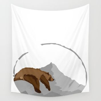 Sleeping Mountain Bear Wall Tapestry by Brittany
