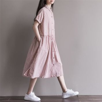Summer Dress Cotton Linen Loose Dress A Line Plaid Print Turn Down Collar Short Sleeve Women Dress Size M-2XL Women Clothing