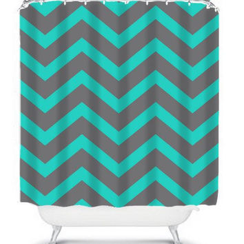 GRAY Turquoise Chevron Shower Curtain Monogram CUSTOM You Choose Colors Pattern Bathroom Bath Polyester Made USA