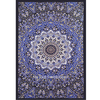 Blue Multi Small Psychedelic 3 D Star Mandala Tapestry, Hippie Wall Hanging Bedding on RoyalFurnish.com