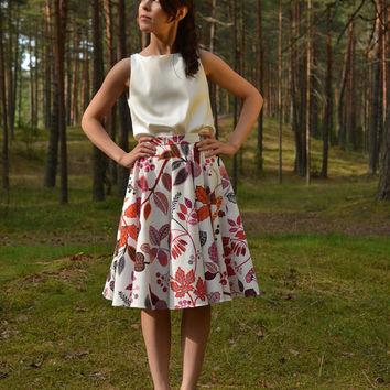 Full Circle  womens skirt in bright color flower pattern design - Extra small / XS size