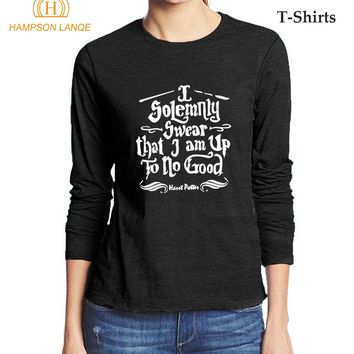 Hogwarts I Solemnly Swear that I am Up To No Good Funny Women T Shirts 2017 Autumn 100% Cotton Long Sleeve T-Shirt Movie Top Tee
