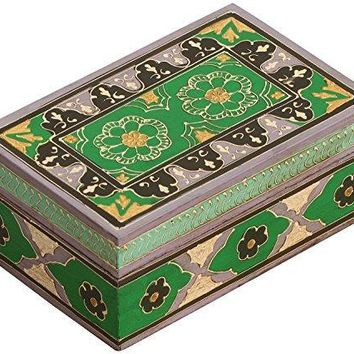 Handmade Rectangular Vintage Look Green & Black Jewelry Box In Wood By Benzara