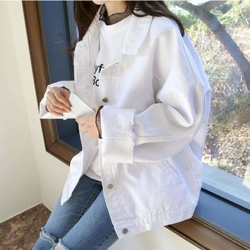 Trendy Spring Autumn Boyfriend Denim Jacket Womens Jackets And Coats White Lapel Single Breasted Casual Loose Outwear Casacos Feminino AT_94_13
