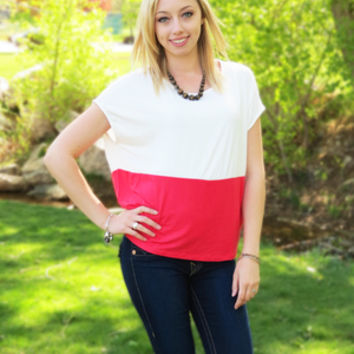 Coral and White Color Block Blouse