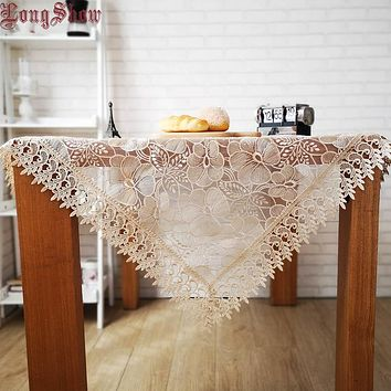 Organza Lace Trim LOTUS Embroidered Tablerunner