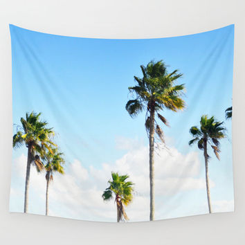 North Beach Palms - Wall Tapestry, Coastal Palm Tree Art, Blue Green Wall Hanging Accent. Available in Sizes 51x60 / 68x80 / 88x104